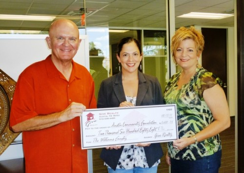 $2,688.75 donated to Austin Community Foundation on behalf of the Williams Family