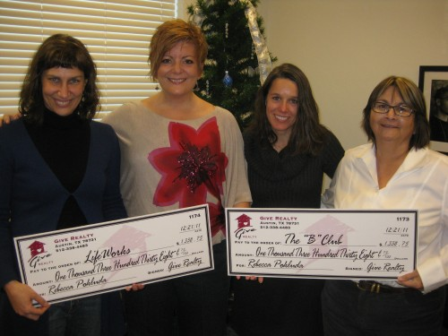 """$1338.75 Donated to LifeWorks and $1338.75 Donated to The """"B"""" Club on behalf of Rebecca Pokluda"""