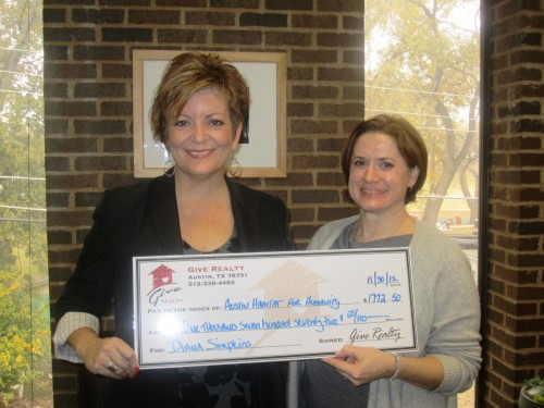 $1,772.50 Donated to Habitat for Humanity on Behalf of Diana Simpkins